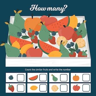 Juego educativo de contar para niños con frutas.