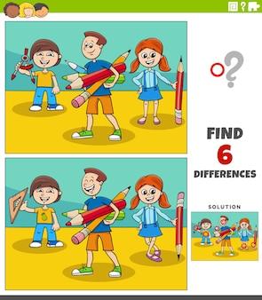 Juego educativo de diferencias con alumnos de dibujos animados