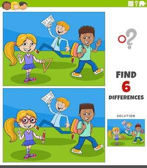 Juego educativo de diferencias con alumnos de primaria de dibujos animados