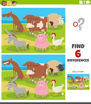 Juego educativo de diferencias con animales de granja de dibujos animados