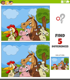 Juego educativo de diferencias con animales de granja