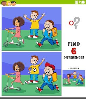 Juego educativo de diferencias con dibujos animados de niños en edad elemental