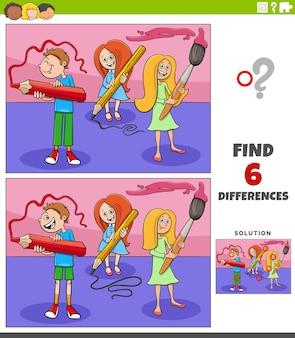 Juego educativo de diferencias con estudiantes de dibujos animados niños