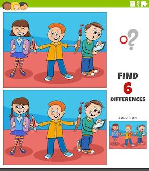 Juego educativo de diferencias con estudiantes de primaria de dibujos animados