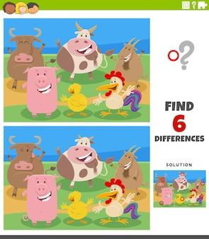 Juego educativo de diferencias con personajes de animales de granja de dibujos animados