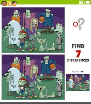 Juego educativo de diferencias con zombies de dibujos animados
