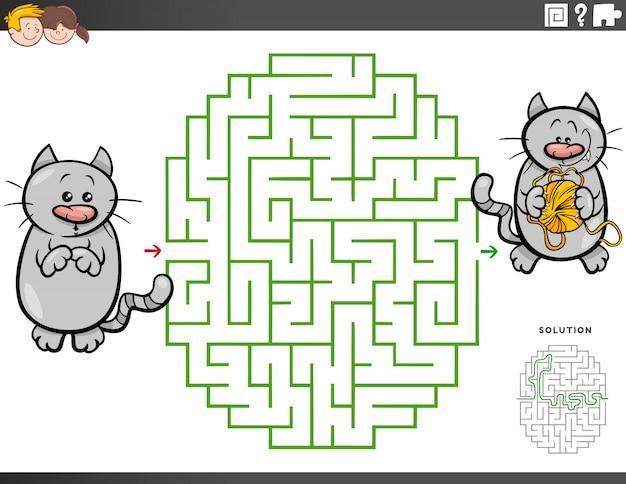 Juego educativo de laberinto con hilo y gato de dibujos animados