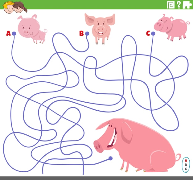 Juego educativo de laberinto con lechones de dibujos animados y cerdo