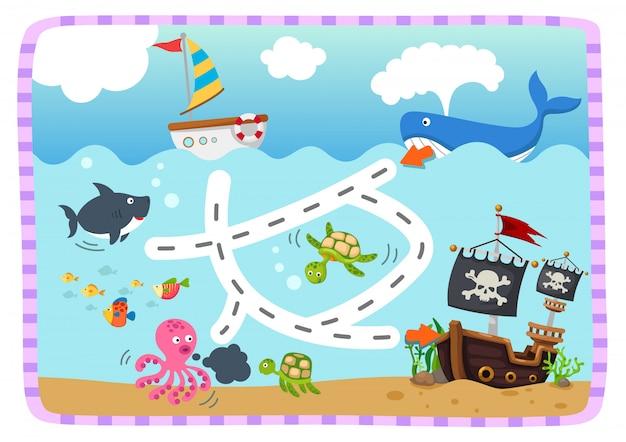 Juego educativo de laberinto para niños ilustración