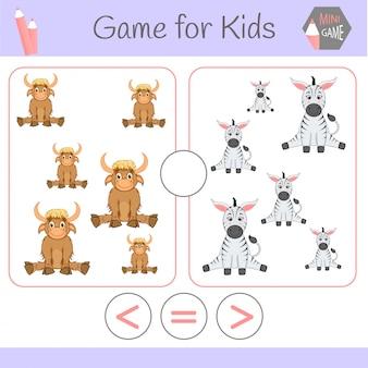 Juego educativo de lógica para niños en edad preescolar. robots divertidos de dibujos animados. elige la respuesta correcta. mayor que, menor o igual que