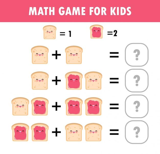 Juego educativo de matemáticas para niños cuenta de aprendizaje, hoja de trabajo adicional para niños. matemática suma resta rompecabezas comida tostada desayuno divertido truco pregunta resolver ilustración plana