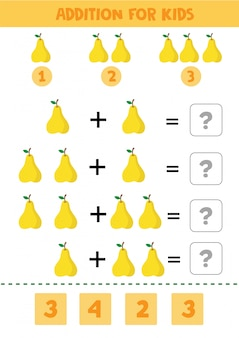 Juego educativo de matemáticas para niños con peras para niños.