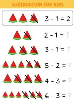 Juego educativo de matemáticas para niños, resta con sandía