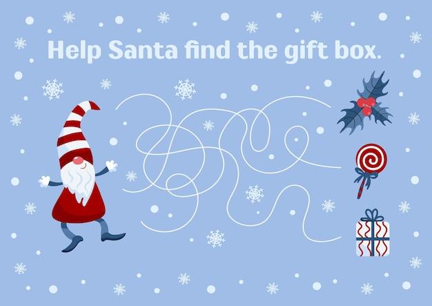 Juego educativo de navidad y año nuevo para niños ayuda a papá noel a encontrar un regalo para juegos impresión de libros