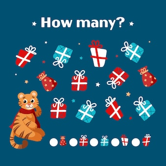 Juego educativo de navidad para niños un lindo tigre con un pañuelo rojo cuenta con cajas de regalo año nuevo chino