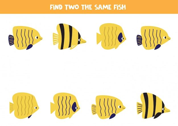 Juego educativo para niños. encuentra dos peces idénticos.