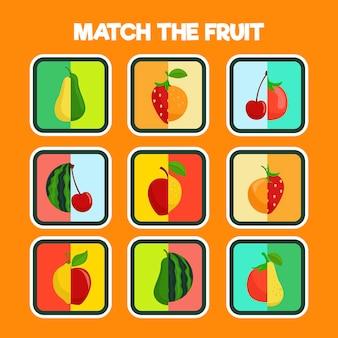 Juego educativo para niños con frutas.