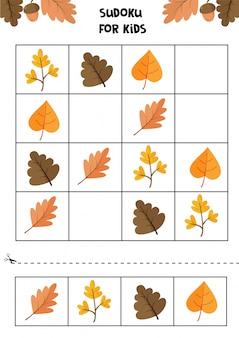 Juego educativo para niños. sudoku para niños. hoja de trabajo de otoño. conjunto de lindas hojas de otoño.