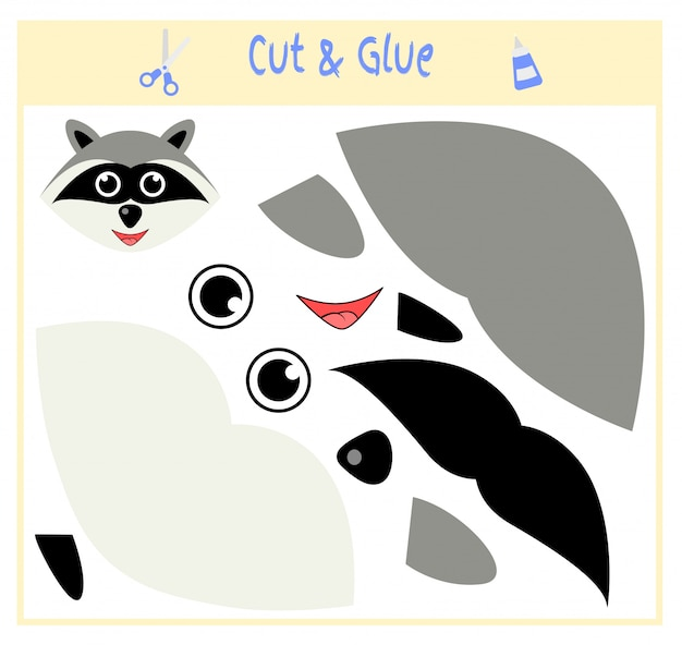 Juego educativo de papel para el desarrollo de niños en edad preescolar. corta partes de la imagen y pégalas en el papel. ilustracion vectorial usa tijeras y pegamento para crear el aplique. mapache