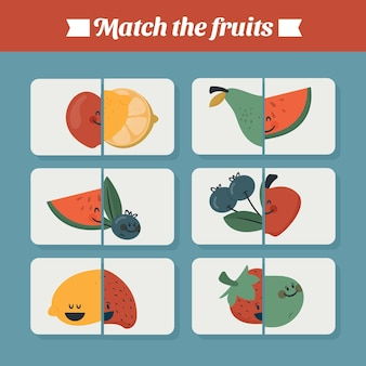 Juego educativo de partidos para niños con frutas.