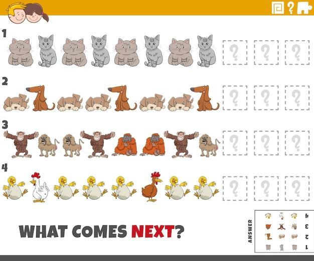 Juego educativo de patrones para niños con animales de dibujos animados