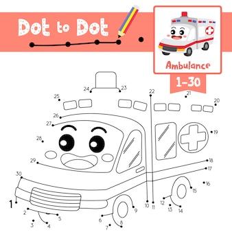 Juego educativo punto a punto y libro para colorear ambulancia personaje de dibujos animados perspectiva vista ilustración