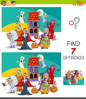 Juego educativo sobre diferencias con personajes de halloween