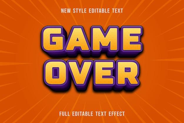 Juego de efectos de texto editable sobre color amarillo y morado
