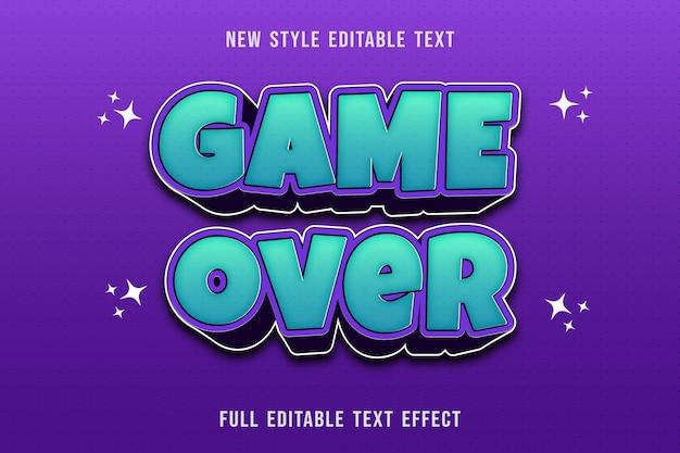 Juego de efectos de texto editable sobre color azul y morado