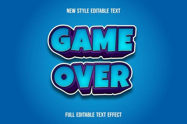 Juego de efectos de texto sobre color azul y morado