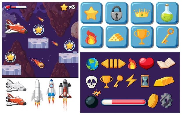 Un juego de elementos espaciales.