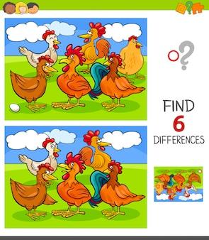 Juego de encontrar diferencias con gallinas y gallos