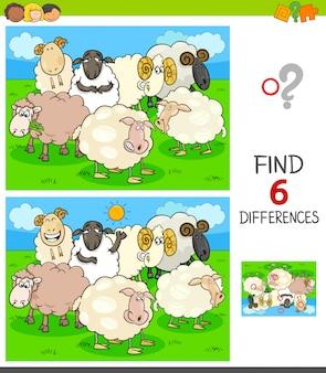 Juego de encontrar diferencias con ovejas de granja