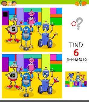 Juego de encontrar diferencias con robots de fantasía