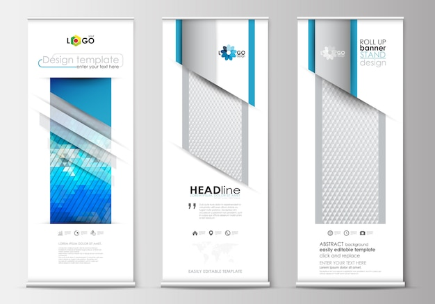 El juego de enrollar soportes de banner, plantillas de diseño plano, estilo geométrico, concepto de negocio, folletos corporativos verticales