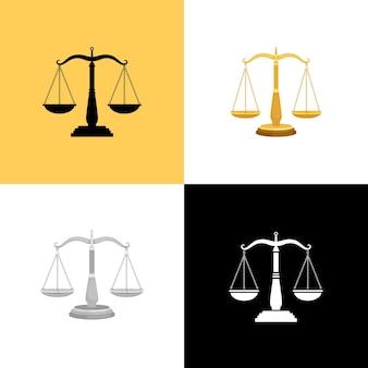 Juego de escalas de corte. justicia equilibrio símbolos y abogados signos de igualdad