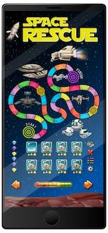 Juego espacial en dispositivo móvil