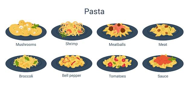 Juego de espaguetis o pasta. comida italiana en el plato.