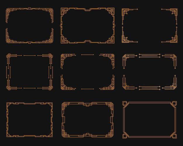 Juego de esquina art deco vintage. plantilla geométrica dorada en estilo de la década de 1920, esquinas art deco para bordes y marcos.