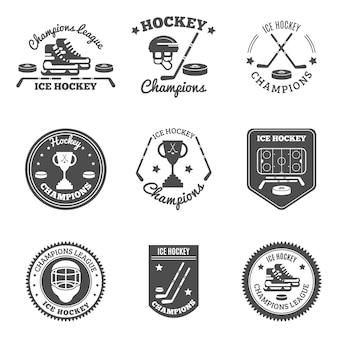 Juego de etiquetas de hockey