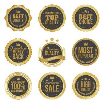 Juego de etiquetas de metal dorado con la mejor opción de calidad