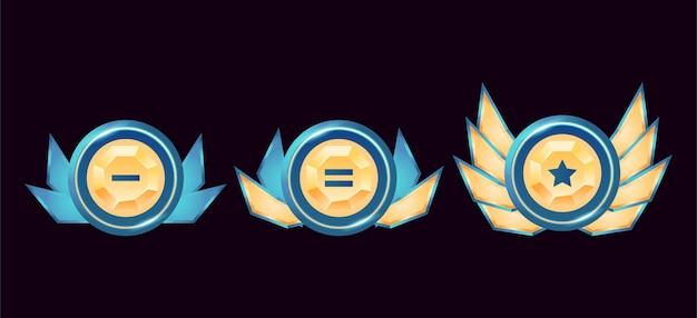 Juego de fantasía ui medallas de insignia de rango de diamante dorado redondeado brillante con alas