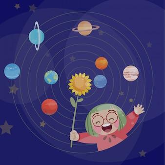 El juego feliz lindo del niño con planetas vector la fantasía del ejemplo