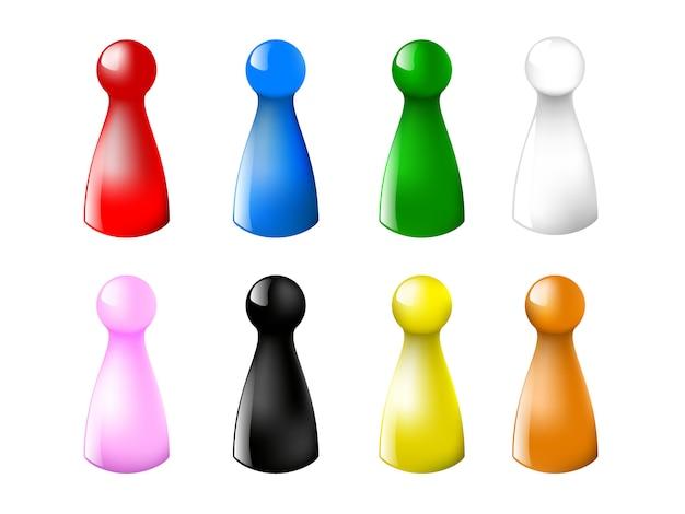 Juego de fichas de juego de color contador sobre un fondo blanco. ilustración