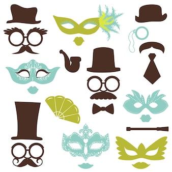 Juego de fiesta retro: gafas, sombreros, labios, bigotes, máscaras