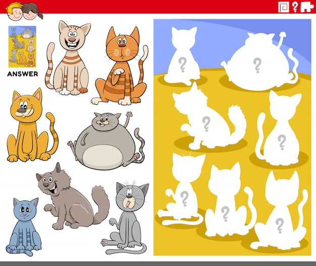 Juego de formas combinadas con personajes de gatos de dibujos animados