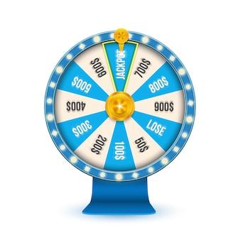 Juego de fortuna 3d girando la rueda de jackpot de casino.