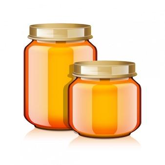 Juego de frascos de vidrio para miel, mermelada, gelatina o puré de alimentos para bebés plantilla realista de maqueta