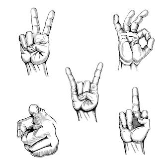 Juego de gestos de bocetos de manos.