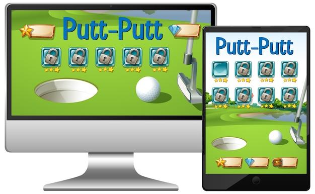 Juego de golf o putt putt en diferentes pantallas de dispositivos electrónicos